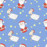 Santa claus and lamb. In caps with stars, pattern Stock Photos
