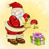 Santa Claus and lantern Stock Images