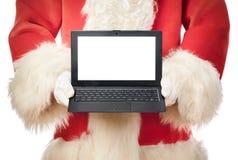 Santa Claus laptop blank screen Royalty Free Stock Photos