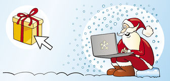 Santa claus with laptop christmas card Royalty Free Stock Photo