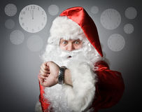 Santa Claus is late. Concept of being late. Stock Photos