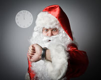 Santa Claus is late. Concept of being late. Stock Image