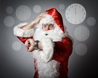 Santa Claus is late. Time and Concept of being late. Royalty Free Stock Photography