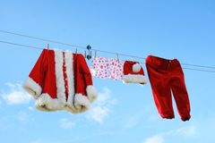 Santa claus laundry Stock Images