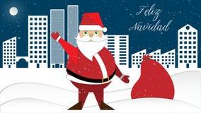 Santa Claus le saluda con su saco de regalos Fotografía de archivo