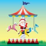 Santa Claus lek det glat går rundan Royaltyfria Foton