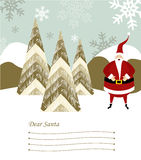 Santa Claus letter. Dear Santa blank lines to write the Christmas gifts with santa claus illustration on snowy background. Vector file available Royalty Free Stock Photos