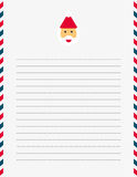 Santa Claus letter template. US sized white lined letter illustrated with Santa Claus letterhead and red, white and blue striped border Stock Photos