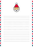Santa Claus letterhead. On lined page with red and blue border Stock Images