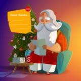 Santa Claus leyó la letra por la tarde Imagen de archivo libre de regalías