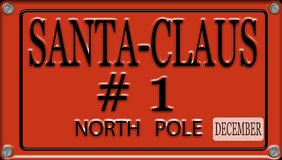 Santa Claus license plate. Santa Claus license red plate Royalty Free Stock Photos