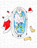 Santa Claus lies in the bathtube - watercolor illustration. Happy Santa Claus is resting in the bathtube - watercolor illustration vector illustration