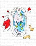 Santa Claus lies in the bathtube  - watercolor illustration Royalty Free Stock Image