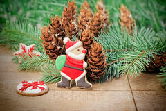 Santa Claus like decorative - fancy cookie for Christmas Royalty Free Stock Image