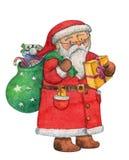 Santa Claus linda que desea una Feliz Navidad y la Feliz Año Nuevo con los regalos empaquetan, acuarela, dibujo de la mano, acuar Imagen de archivo