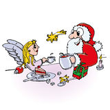 Santa claus and little angel are drinking coffee Stock Photo