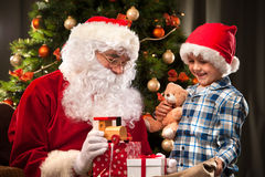 Santa Claus and a little boy Royalty Free Stock Photos