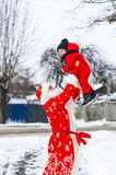 Santa Claus and the little boy in outdoor. stock image