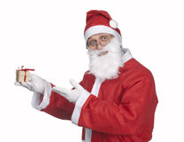 Santa Claus with little gift Royalty Free Stock Images