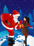 Santa Claus and little girl. Santa Claus giving present to little girl,they are standing on world globe royalty free illustration