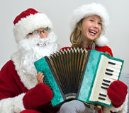 Santa Claus and little girl. Royalty Free Stock Images