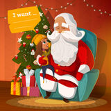 Santa Claus with little kid. On the arm-chair stock illustration