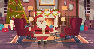 Santa Claus In Living Room Decorated For Christmas And New Year At Armchair Near Pine Tree And Fireplace, Home Interior. Decoration Winter Holidays Concept Flat Stock Photo