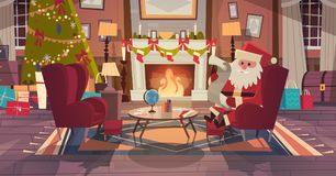 Santa Claus In Living Room Decorated For Christmas And New Year Sit In Armchair Near Pine Tree And Fireplace, Home. Interior Decoration Winter Holidays Concept Royalty Free Stock Photo