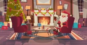 Santa Claus In Living Room Decorated para a árvore do Natal e do Sit In Armchair Near Pine do ano novo e a chaminé, casa ilustração stock