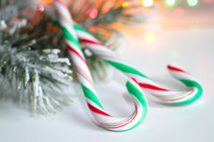 Santa Claus lollipop stick on christmas background Stock Images