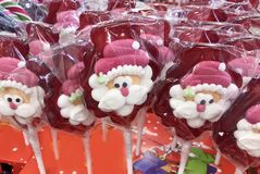 Santa Claus Lollipops Stock Image