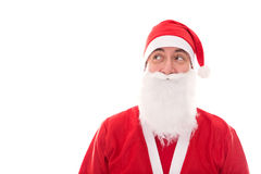 Santa Claus looking to Copyspace, isolated on white Royalty Free Stock Photo