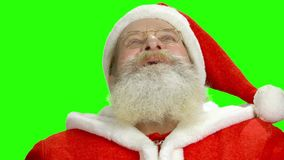 Santa Claus looking up, chromakey. stock footage