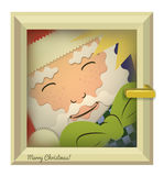 Santa Claus Looking in through Window Stock Photography