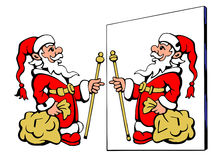 Santa Claus looking at the wrong mirror. Find  ten differences Stock Photo