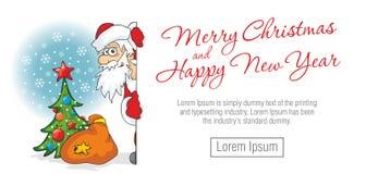 Santa Claus looks around corner royalty free illustration