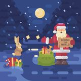 Santa Claus lost his sleigh and reindeer and is hitchhiking. On the road to deliver presents to children. Christmas flat illustration Royalty Free Stock Photo