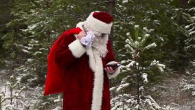 Santa Claus lost in the woods stock video