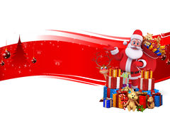 Santa claus with lots of gifts and deer Royalty Free Stock Image