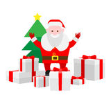 Santa Claus with lots of gifts Stock Photo