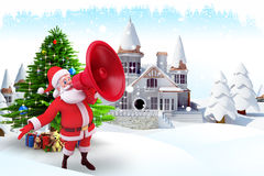 Santa claus with loud speaker near buildings Stock Images