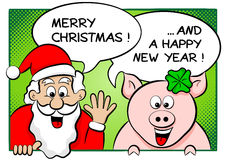 Santa claus and lucky pig with speech bubbles stock photos