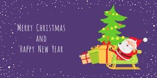 Santa Claus Lying in Ar dichtbij Kerstboom stock illustratie