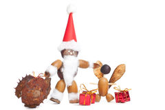 Santa claus made of chestnuts,acorns and beechnuts Royalty Free Stock Photo