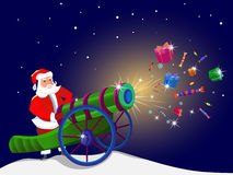 Santa Claus with a magic gun. Gifts are flying out of a cannon. Santa Claus gives gifts Stock Image