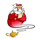 Santa Claus through magic lamp help christmas wishes come true. Happy smiling cartoon Santa Claus coming excited out of a magic oil lamp making a genie gesture Royalty Free Stock Image