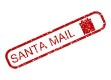 Santa claus mail rubber stamp with giftbox stock photo