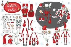 Santa Claus maker.Humorous Constructor image set Stock Photography