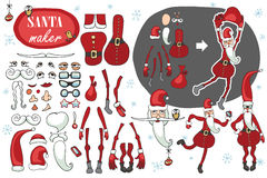 Santa Claus maker.Humorous Constructor image set Royalty Free Stock Images