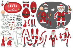 Santa Claus maker.Humorous Constructor set Royalty Free Stock Photo